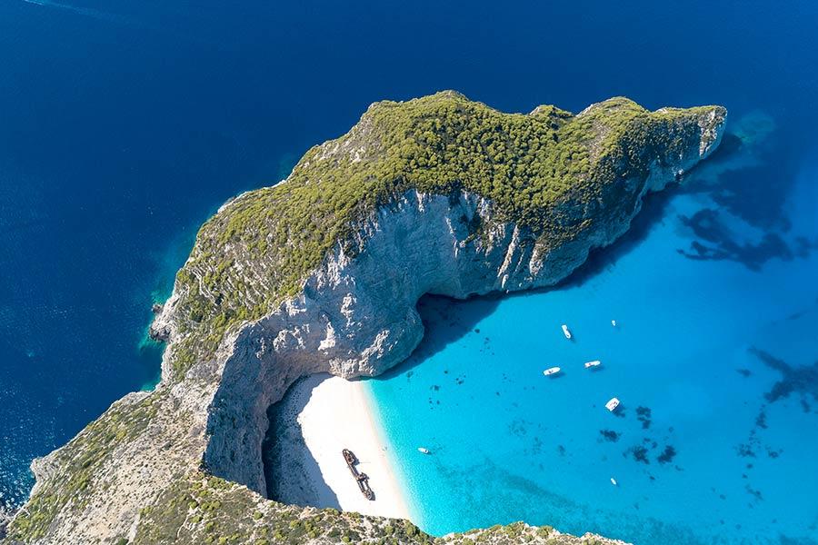 Azurblått hav på Zakynthos, Hellas